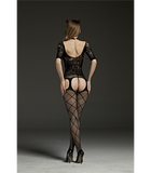LACE AND CROSS HATCH Body Stocking