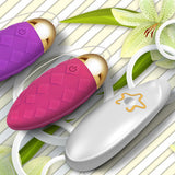 Textured Wireless Jump Egg Vibrator Pink and Purple