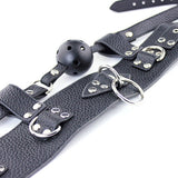 Lichee Pattern Leather 3 D Ring Collar With Detachable Ball Gag5