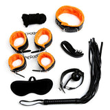 Plush Bondage Kit Orange and Black contents