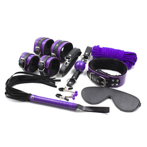 Purple And Black Fur Lined Bondage Kit contents