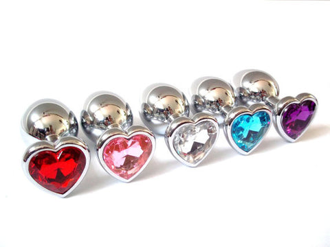 Heart Jewelled Stainless Steel Butt Plugs
