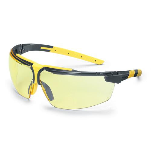 UVEX i-3 Safety Glasses - Black / Yellow (Clear)