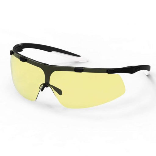 UVEX Super Fit Safety Glasses - Black / White (Amber Tinted)