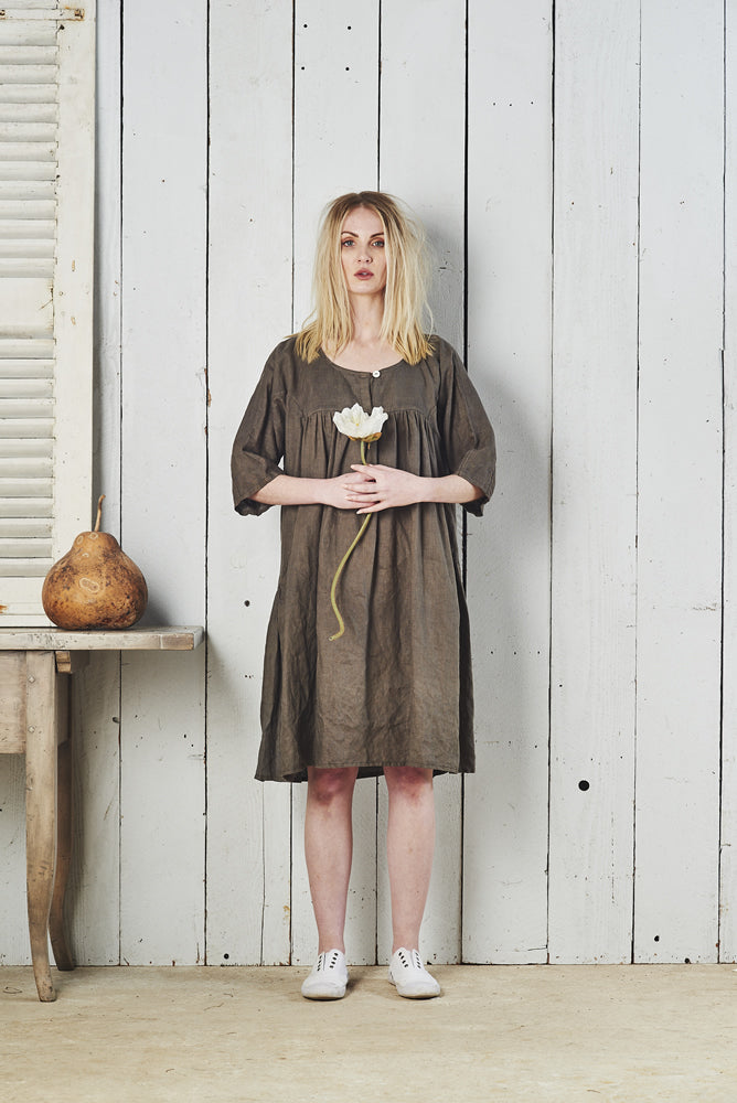Amira Linen Short Sleeve Front Button Dress