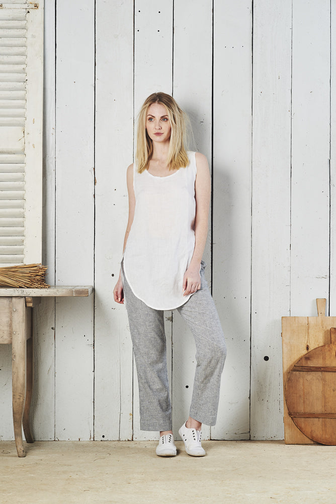 Zahara Round Neck Linen Singlet with Split