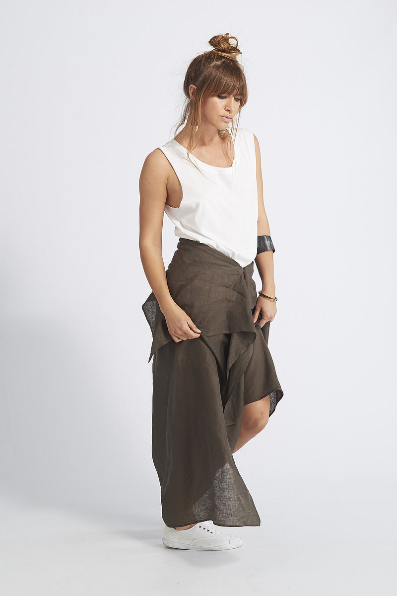Asha Deconstructed Linen Skirt Pant
