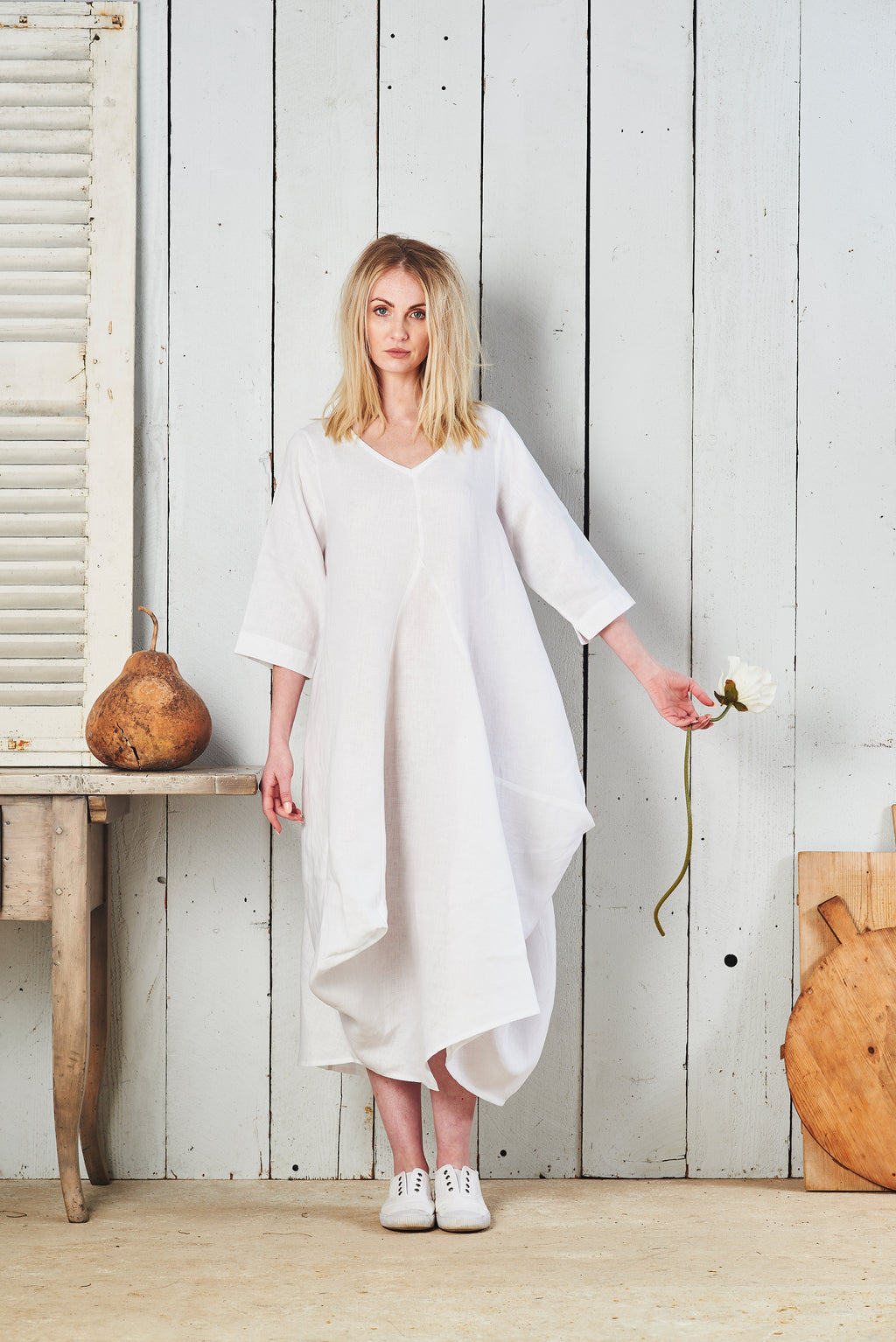 Willow Casual Long Sleeve Linen Dress