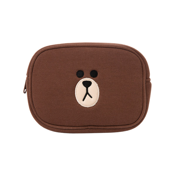 Line Friends - Brown Square Multi Pouch (L) - Bag - Harumio
