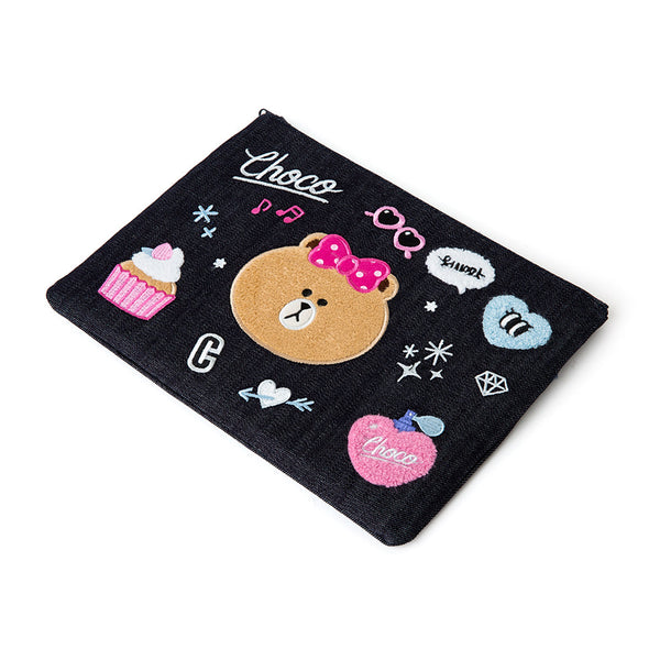 Line Friends - Navy iSKO Denim Choco Square Pouch - Bag - Harumio