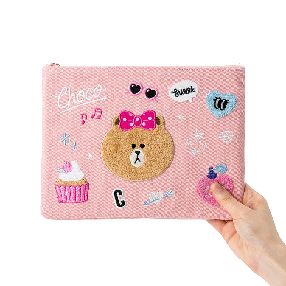 Line Friends - Pink iSKO Denim Choco Square Pouch - Bag - Harumio