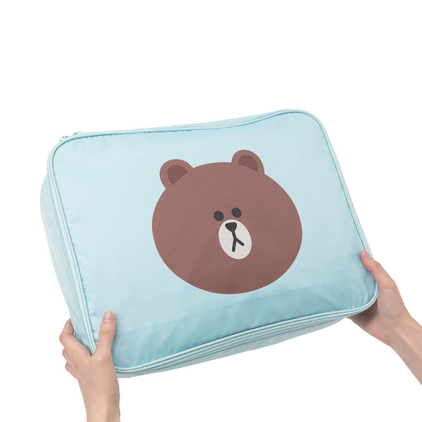 Line Friends - Brown Travel Pouch (L) - Bag - Harumio