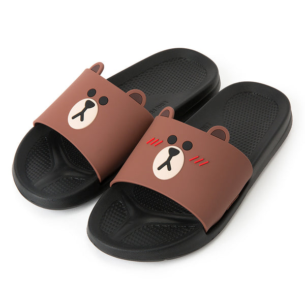 Line Friends - Black Brown Two Face Slipper - Bag - Harumio