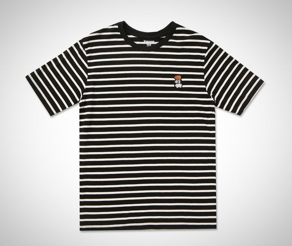SPAO Striped Short Sleeve Polo Shirt- Black