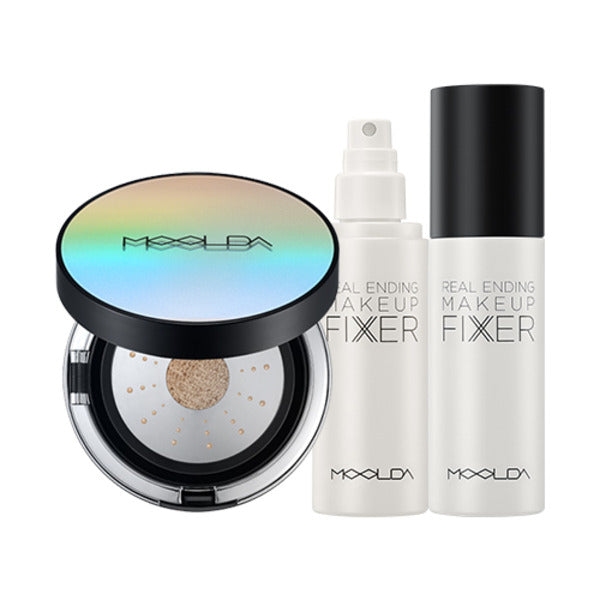 Moolda - Oil Drop Velvet Cushion + Real Ending Makeup Fixer Set