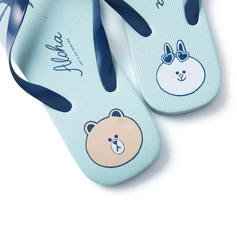 Line Friends - Brown & Cony Aloha Beach Slipper - Bag - Harumio
