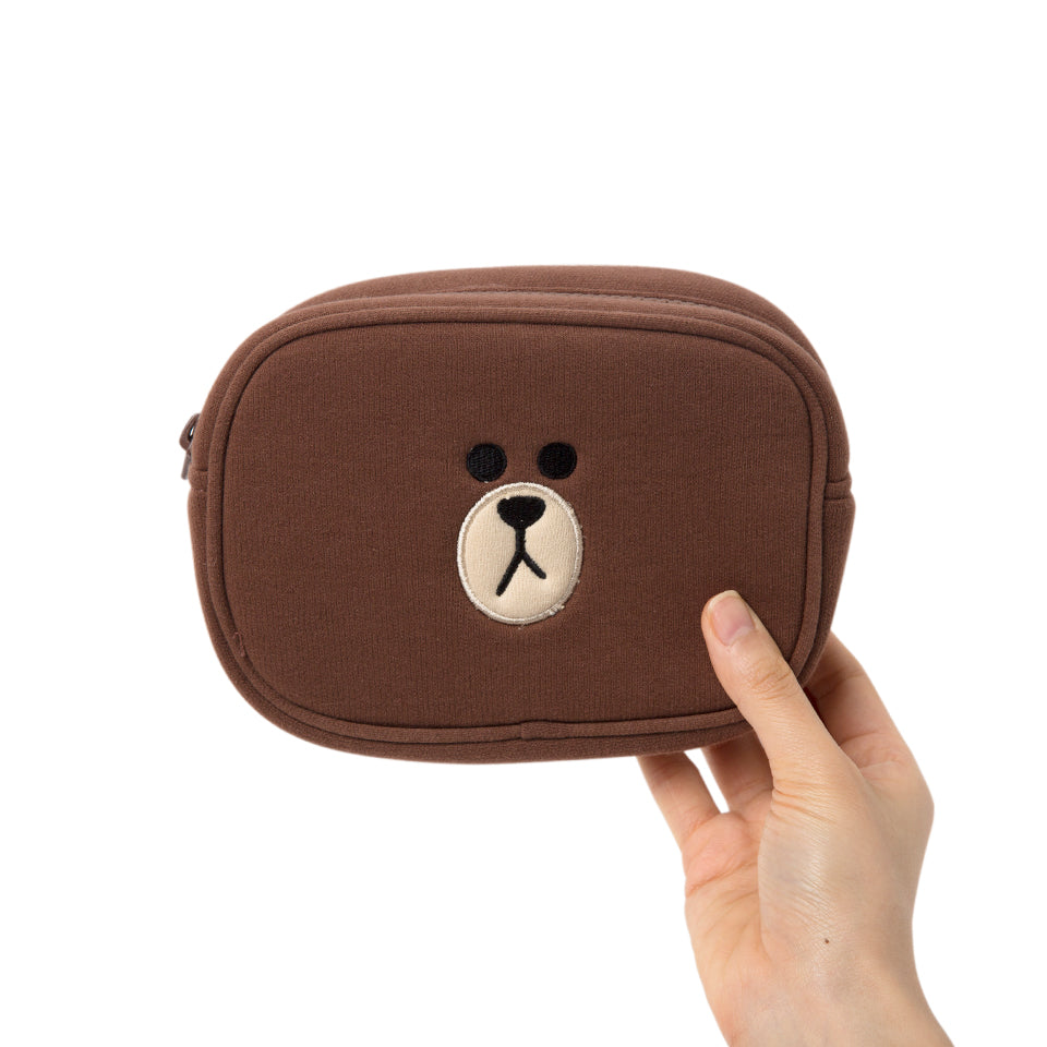 Line Friends -  Brown Pouch Set - Bag - Harumio