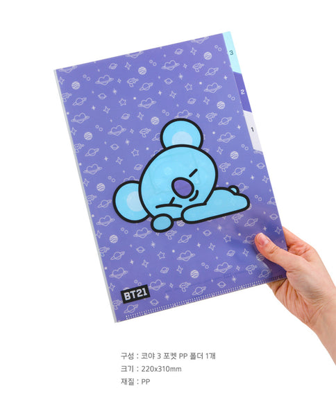 BT21 3 Pocket PP Folder - KOYA - Stationary, Accessories - Harumio