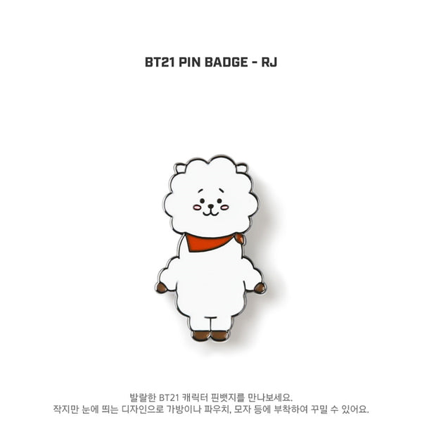 BT21 Brooch Pin Badge - RJ - Stationary, Accessories - Harumio