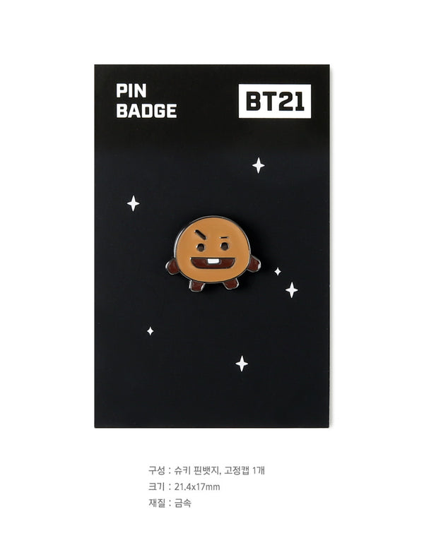 BT21 Brooch Pin Badge - SHOOKY - Stationary, Accessories - Harumio