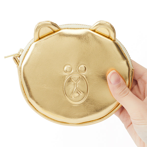 Line Friends -  Gold Brown Coin Purse - Bag - Harumio