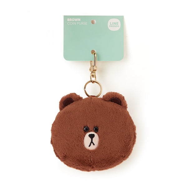 Line Friends - Brown Fur Face Coin Purse - Bag - Harumio