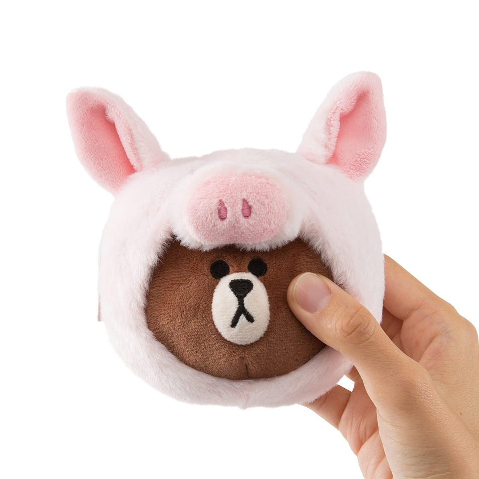 Line Friends - Piggy Brown Face Coin Purse - Bag - Harumio