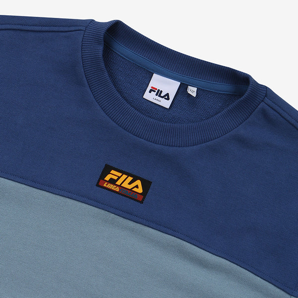 FILA - Heritage 18FW Color Block Logo Sweater - Blue - Sweater - Harumio