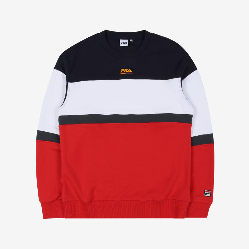 FILA - Heritage 18FW Color Block Logo Sweater - Red