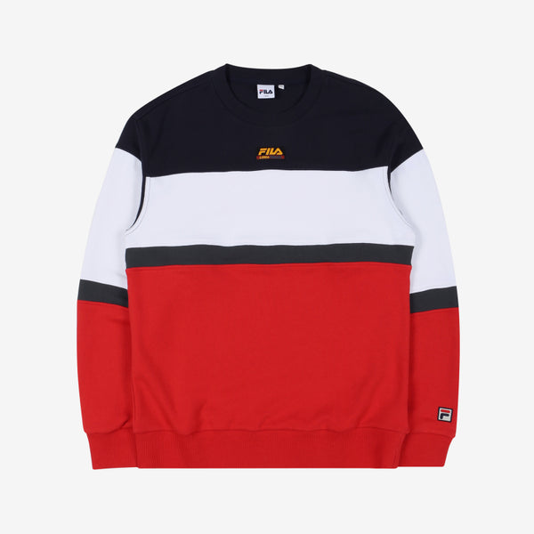 FILA - Heritage 18FW Color Block Logo Sweater - Red - Sweater - Harumio