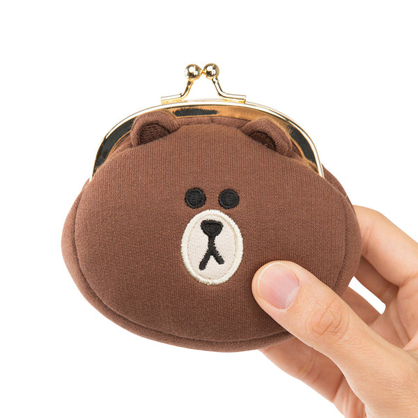 Line Friends - Brown Face Button Coin Purse - Bag - Harumio