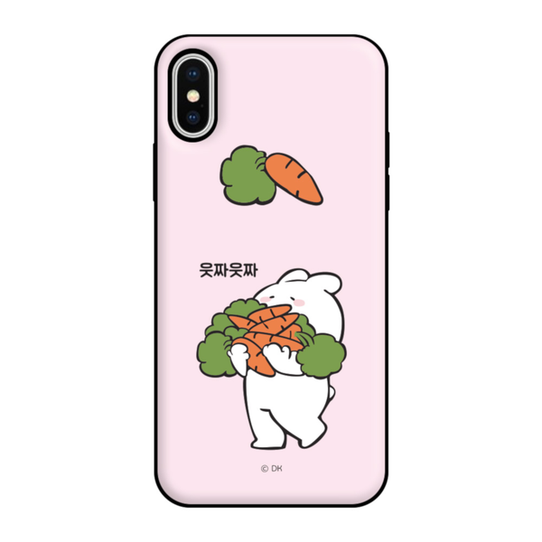 Overaction Rabbit - Bumper Phone Case with Card Slot - Light Pink