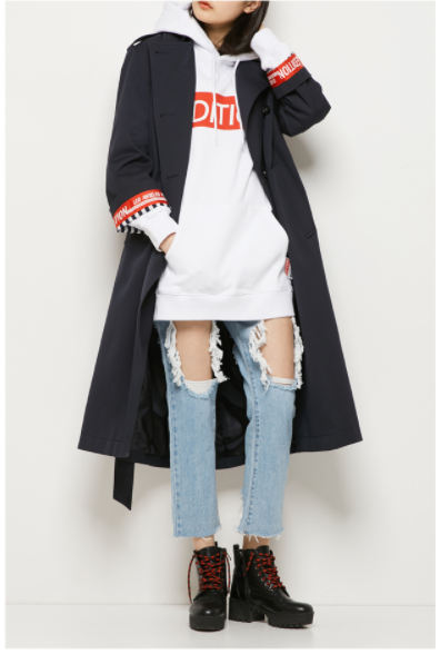 Lap - Drop Shoulder Trench Coat - Navy - Coat - Harumio