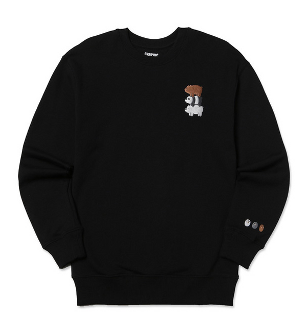 We Bare Bears X SPAO - Three Combo Crewneck Sweater - Black