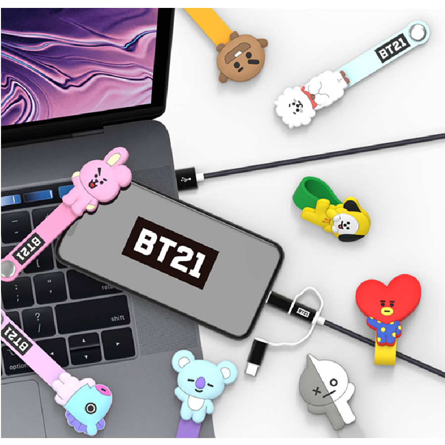 BT21 - 3-in-1 Charging Cable with Character Strap