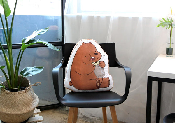 We Bare Bears -  Flat Cushion - Grizzly