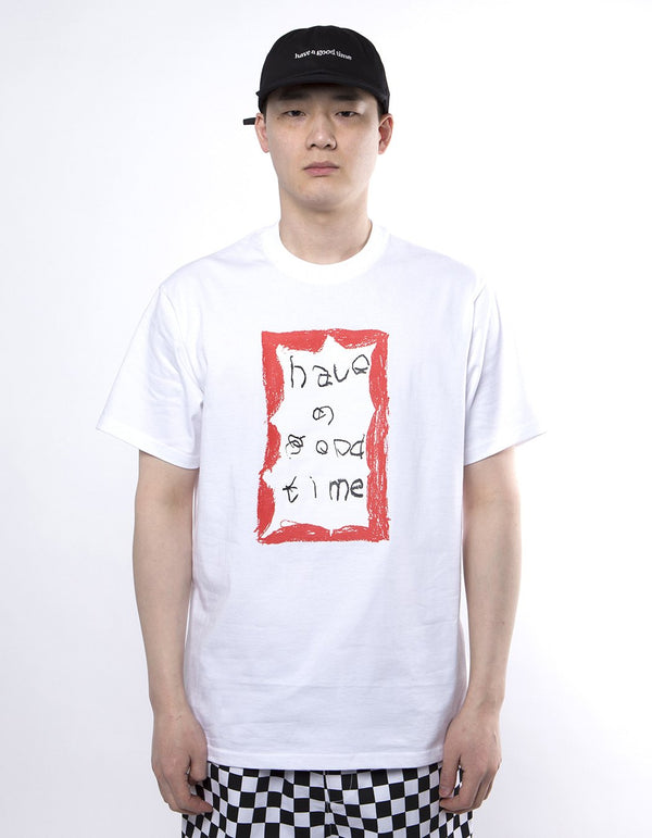 have a good time - Crayon Frame Short Sleeve T-shirt - White