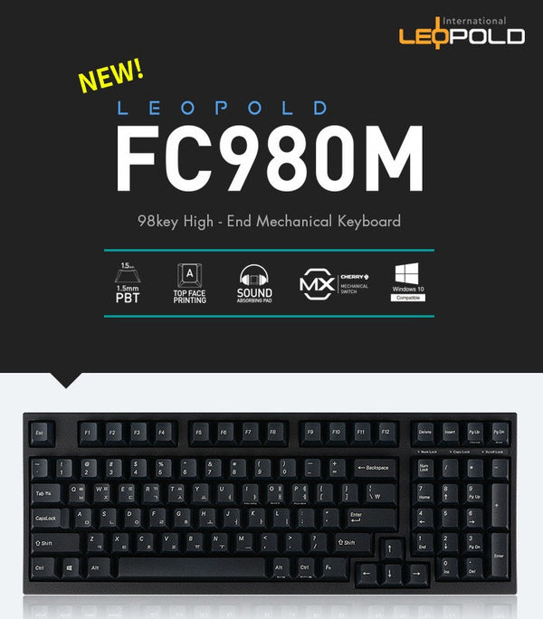 Leopold FC980M Low Noise Keycap ( English / Hangul ) - Mechanical Keyboard - Harumio