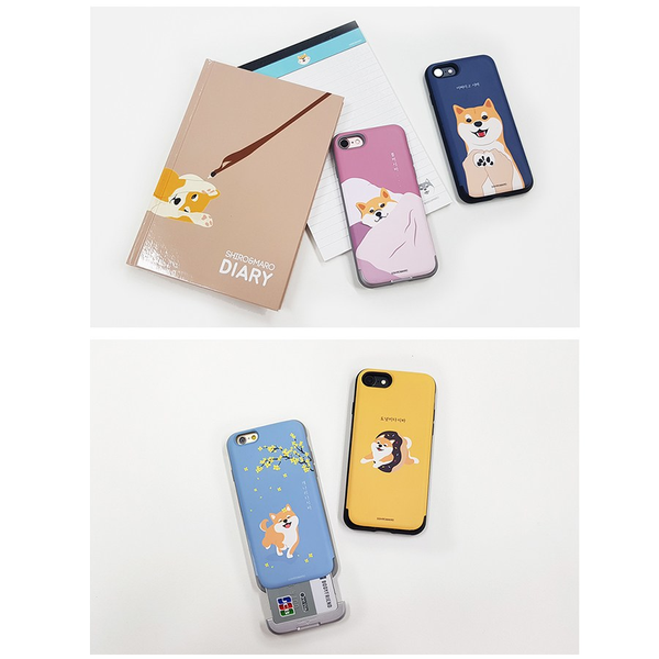 Shiro and Maro - Phone Case with Card Slot- Shiro - Dark Blue