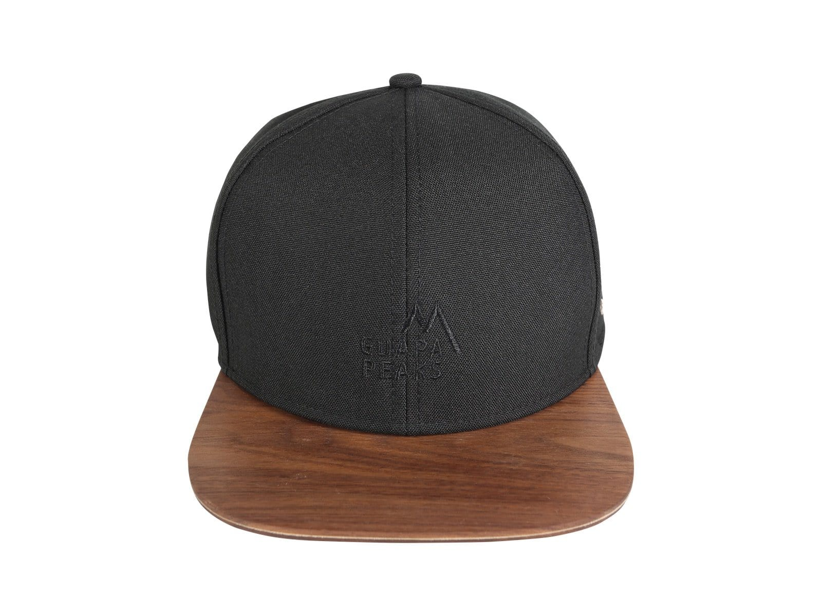 Black 6 Panel Cap Set | Walnut Wood + Free Fabric Visor