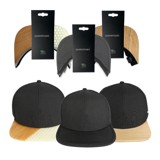 Black 6 Panel Cap Set | Ash & Bamboo Surf + Free Fabric visor