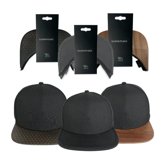 Black 6 Panel Cap Set | Walnut & Black Surf + Free Fabric Visor