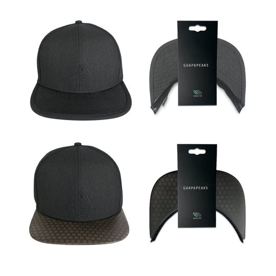 Black 6 Panel Cap Set | Black Surf + Free Fabric Visor