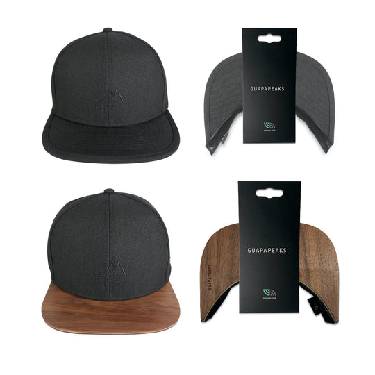 Black 6 Panel Cap Set | Walnut Wood Visor