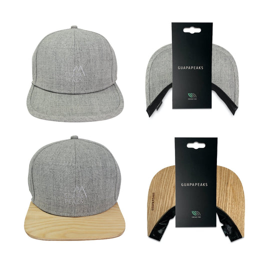 Grey 6 Panel Cap Set | Ash Wood + Free Fabric Visor
