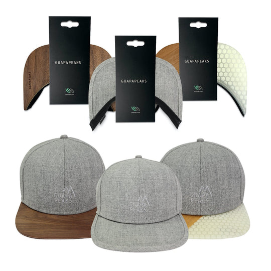 Grey 6 Panel Cap Set | Walnut + Bamboo Surf + Free Fabric Visor