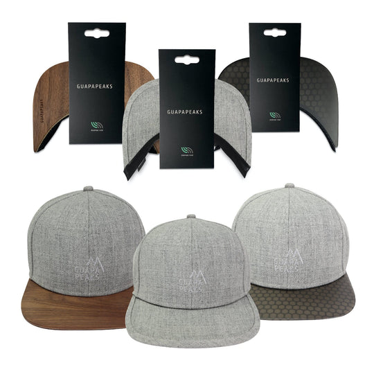 Grey 6 Panel Cap Set | Walnut + Black Surf + Free Fabric Visor