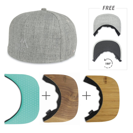 Grey Tweed 6 Panel | Bamboo, Walnut Wood & Turquoise Surf + Free Visor