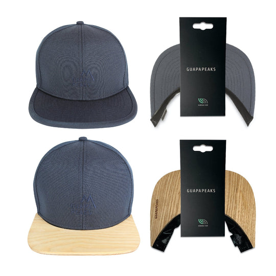 Navy 6 Panel Cap Set | Ash Wood + Free Fabric Visor