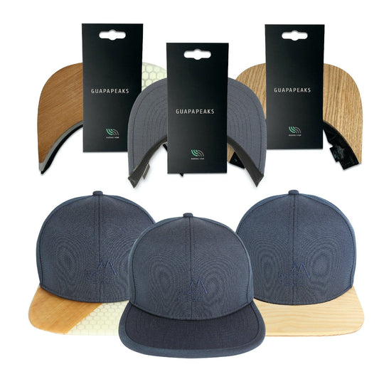 Navy 6 Panel Cap Set | Ash & Bamboo Surf + Free Fabric Visor